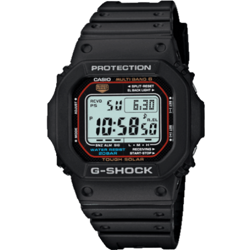 GW-M5610-1ER Casio Watch G Shock Men's Black Rubber Strap Digital With A Red Surround To The Dial